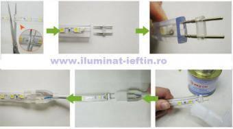 Banda LED 220V 5050 60 buc-m impermeabila