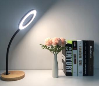 Veioza LED cu lemn Neagra