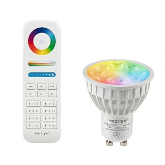 Kit bec LED inteligent GU10 RGBW cu telecomanda MiLight