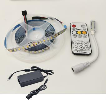 Kit Banda LED alb variabil 5M interior cu telecomanda