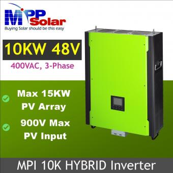 Invertor hibrid trifazic unda pura 10kW cu regulator MPPT 200A