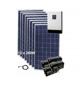 Sistem fotovoltaic 3kWp cu invertor hibrid si baterii de stocare