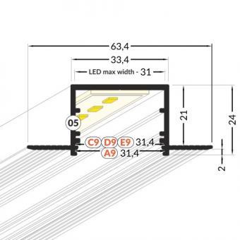 Profil LED 2m incastrat sub tencuiala