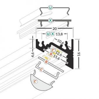 Profil LED 90 grade slim 2m ALB