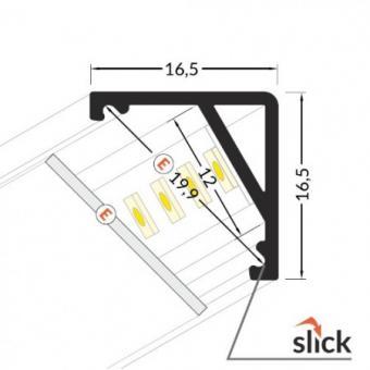 Profil LED 90 grade slim 2m Negru