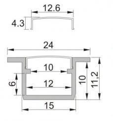 Profil LED incastrat 3m